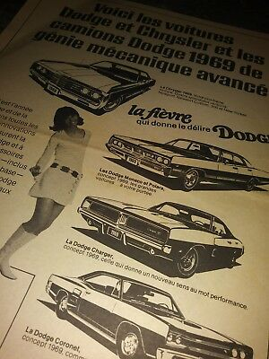 dodge ad charger rt r/t 69 coronet poster fever french canada 426 340 dart