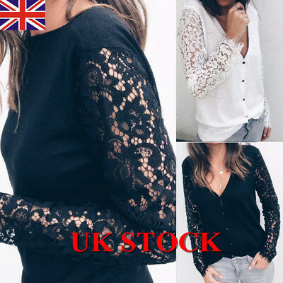 Womens Ladies Lace Long Sleeve Tops Deep V Neck Blouse Shirt Button Down Blouse