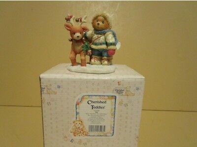 "Enesco Cherished Teddies Nils #617245 ""Near And Deer For Christmas"""