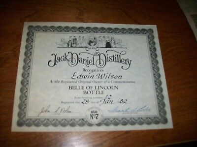 Jack Daniel Distillery Letter And Certificate From Company