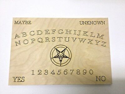 Laser Engraved 11x7 inch Wooden Ouija Style Board and planchette with Pentagram