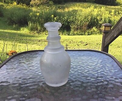 Antique Vintage Frosted Glass Bottle Small Neat Shape!