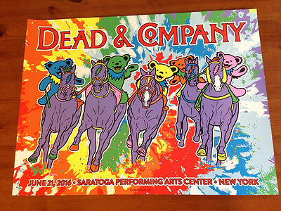 Dead And Company Poster Saratoga Grateful Dead Horses Tie Dye Signed by GIGART