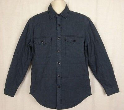 J Crew New York Quilted Button Front Shirt Jacket ~Thermore Insulated ~ Blue ~ M