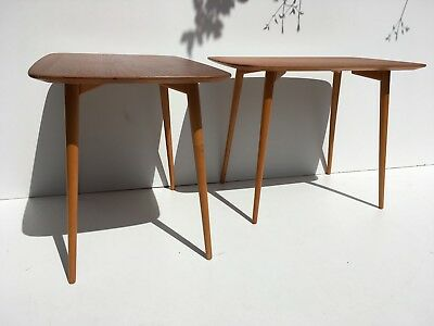 Authentic 1950s Swedish Teak Side End Coffee Tables Mid Century Modern WOW!