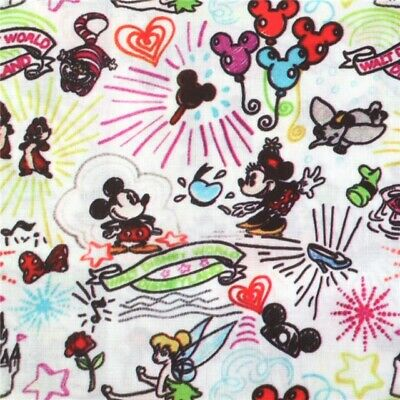 Disneyland Fabric Sketched Park Attractions Print Polycotton 50X145Cm/20X58Inch