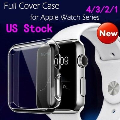For Apple Watch Series 4/ 3/ 2 40/44mm Slim Full Body Clear Soft TPU Case Cover