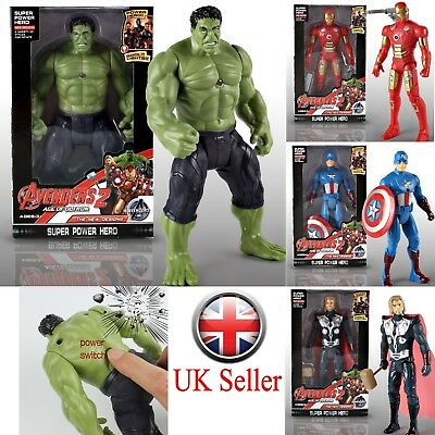 UK Avengers Movable Action Figure Super Heros Thor Hulk Glow Kids Xmas Toys Gift