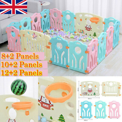 12 Panel Large Foldable Baby Playpen Kids Plastic Play Pens Room Divider Toy UK