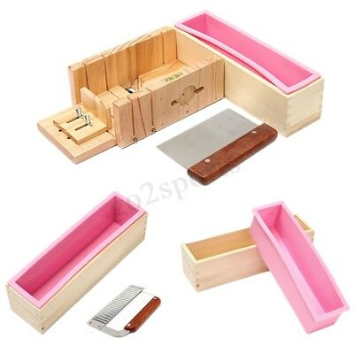 Silicone Soap Mold Wooden Box Loaf Cake Maker Cutting Slicer Cutter Handmade