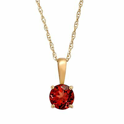 """5/8 ct Natural Garnet Pendant Necklace in 10K Yellow Gold, 16"""""""