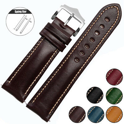 Replacement 18/20/22mm Genuine Leather Watch Band Wrist Strap+Quick Release Pin