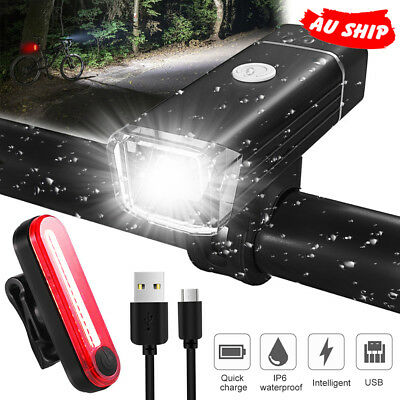 USB Rechargeable LED Bike Front Light headlight lamp rear tail Mountain Bicycle