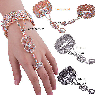 Rose Gold 1920s Flapper Accessories Bracelet Ring Set Bead Crystal Style Jewelry