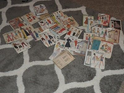 Vintage Sewing Patterns Simplicity, McCalls, Vogue, Butterick~Lot Of 32