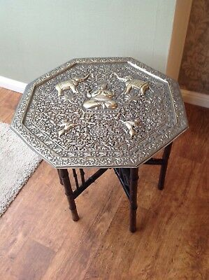 Beautiful Antique Brass And Bamboo Gypsy Table