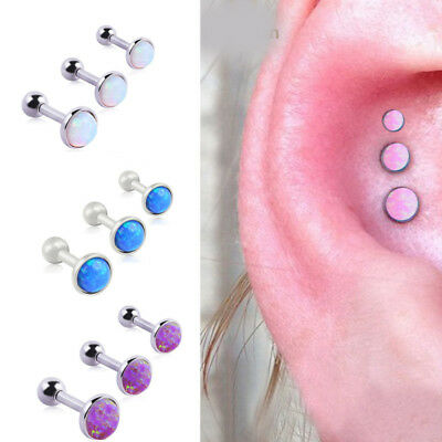 3pcs Stainless Steel Stud Forward Helix Ball Cartilage Piercing Tragus Earring