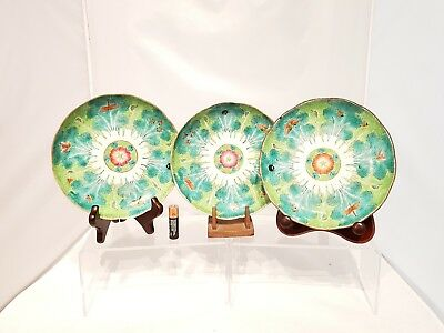 "3 xNice Signed 19thC Chinese Antique Cabbage Pattern  7"" Shallow Bowl Dish Qing"