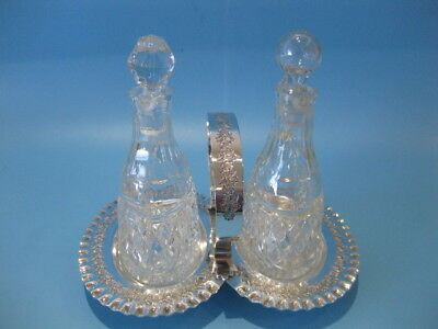 Beautiful Antique Silver Plate Victorian Condiment Stand Olive Oil & Vinegar Set