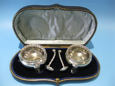 Very Beautiful Boxed Set / Pair of Antique Silver Plated Georgian Open Salts