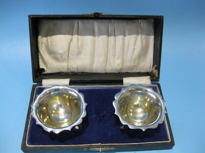 Beautiful Boxed Set / Pair of Antique Silver Plated Victorian Open Salts