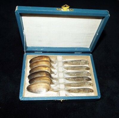 Japanese Set Of Six Silver/silver Plated? Spoons Buck,pagoda Look!!!!
