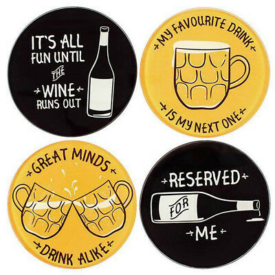 One Single Glass Round Modern Classic Gent Coaster Drinks Beer Funny Novelty