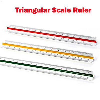 30cm Triangular Triangle Metric Scale Measure Ruler For Engineer Architect US