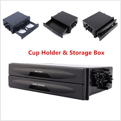 Universal Black Car Truck Double Din Radio Pocket Drink-Cup Holder Storage Box
