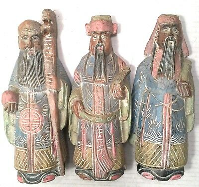 Asian Wiseman Figure Hand Carved Wood Wooden Lot 3 Vtg Chinese Men