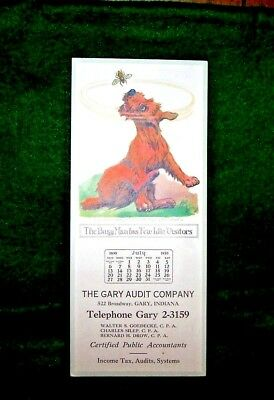 Vintage 1930 THE GARY AUDIT COMPANY Ink BLOTTER Comical Dog Calendar Gary IN