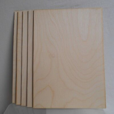 5 X Birch plywood sheets 3mm thick, A4 size, for pyrography, crafts,modelling.