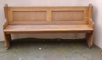 """Lovely Antique Solid Oak Church Chapel Pew Bench Seat Sttle Ideal Home Cafe 66"""""""
