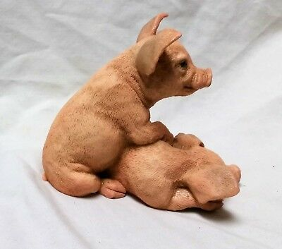 Two Piglets Figurine by Castagna One Has Its Paws on the Other Sleeping Piglet