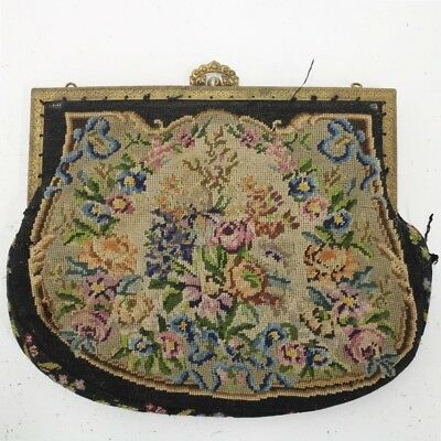Vintage Ladies Carpet Embroidered Gold Ornate Pearl Clasp Small Purse #940