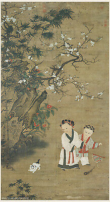 Chinese antique painting Children at play by Su HanChen in Northern Song dynasty