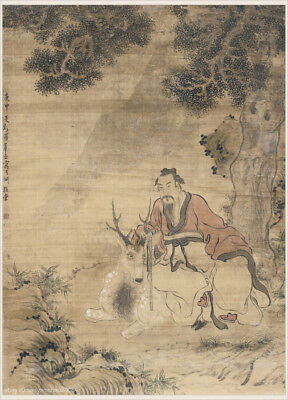Chinese old scroll painting Immortal and deer under old cypress tree