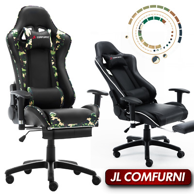 💪JL Comfurni Gaming Office Chair Rocking Recline Footrest Swivel Chair Special