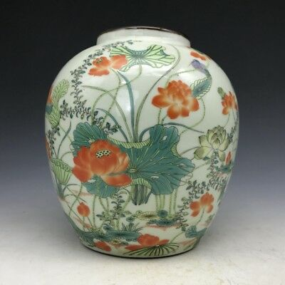 And fine Chinese painting louts porcelain storage tank x66