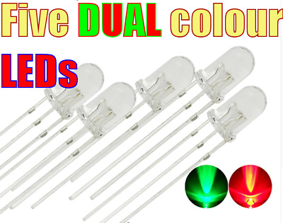 5 x RED & GREEN DUAL Colour BiColour 3mm Common Cathode 3-Pin LED
