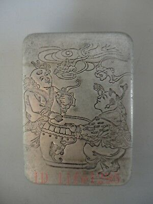 Collection Old China Tibet Silver Handmade Ink Cartridges Snuff Box Decoration