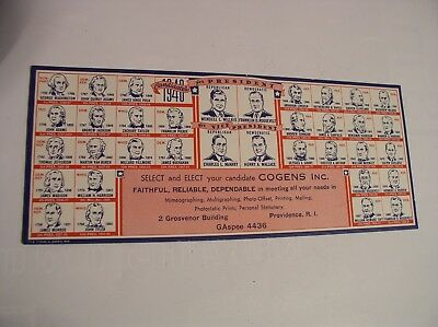1940 Presidential Election Roosevelt Wallace Ink Blotter Advertising