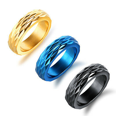 Women Men Stainless Steel Titanium Band Ring Wedding Jewelry Cool Gift Size 6-13
