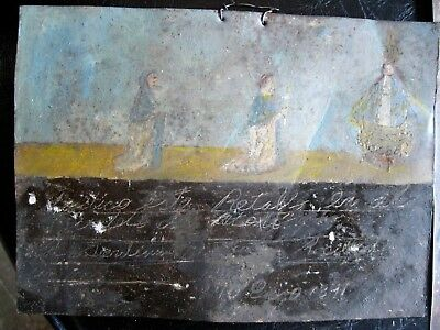 Original Antique Exvoto On Tin Dated 1891 A Couple Thanking Our Lady