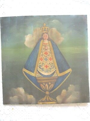 Vintage Retablo On Tin Or Bronze? In Great Condition , Our Lady Of Zapopan