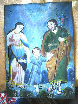 Antique Retablo On Tin With The Image The Holy Family 10'' By 14''