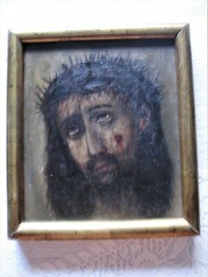 Beautiful Antique Retablo On Canvas With Image Of Divine Face Of Jesus Framed