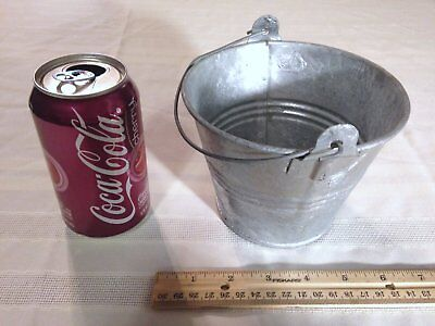 Vintage Galvanized Steel Tin Metal Bucket Pail Wire Bail Handle Small Sized