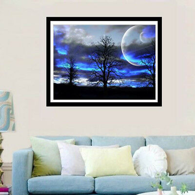 5D DIY Moon Scenery Full Drill Embroidery Cross Stitch Wall Decoration one