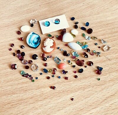 Real Gemstones and 1 Diamond. Ideal for jobbing or Craft. Some damage.